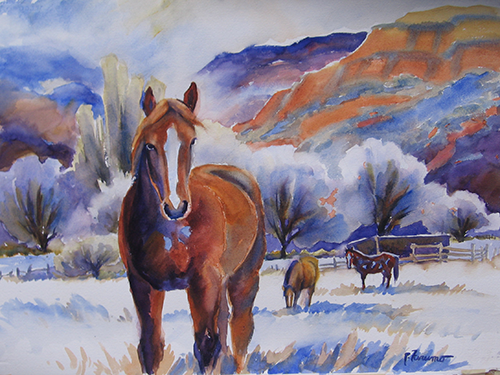 Red Mare in Bellvue Valley - Winter